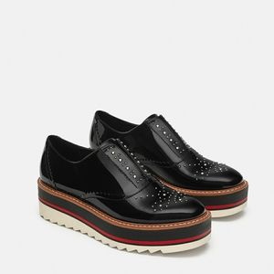 Studded Flat Form Oxfords